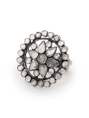 Tribal Silver Adjustable Ring with Crystals