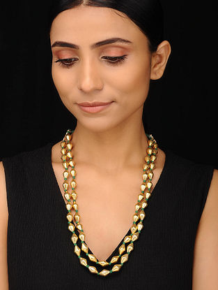 Gold Tone Tribal Silver Dholki Beaded Necklace