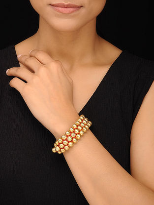Gold Tone Tribal Silver Beaded Bracelet