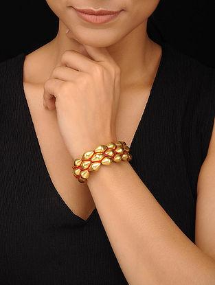 Gold Tone Tribal Silver Dholki Beaded Bracelet