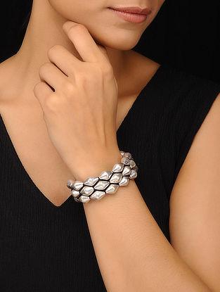 Tribal Silver Dholki Beaded Bracelet