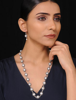 Pearl Beaded Silver Necklace with Earrings (Set of 2)