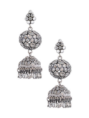 Tribal Silver Jhumki Earrings with Glass Crystals