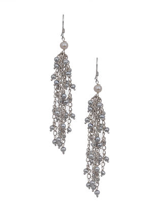 Pearl Beaded Silver Earrings