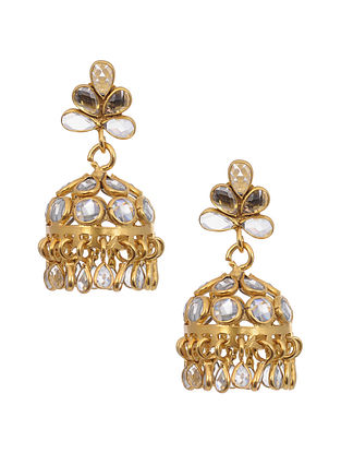 Gold Tone Silver Jhumki Earrings with Glass Crystals