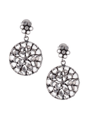 Tribal Silver Earrings with Crystals