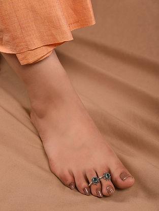 Green Tribal Silver Adjustable Toe Rings (Set of 2)