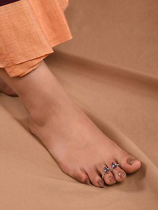 Maroon Tribal Silver Adjustable Toe Rings (Set of 2)