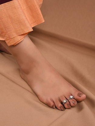 Tribal Silver Adjustable Toe Rings with Pearls (Set of 2)