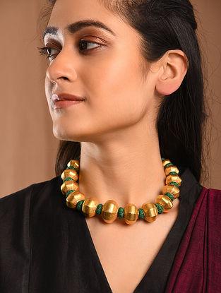 Green Thread Gold Tone Silver Necklace