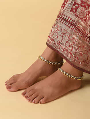 Dual Tone Tribal Silver Anklets (Set of 2)