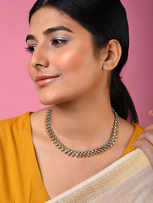 Dual Tone Tribal Silver Necklace