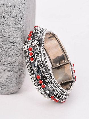 Red Tribal Silver Hinged Bangle (Hinged Bangle Size: 2/2)