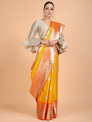 Yellow-Orange Kanjivaram Silk Saree