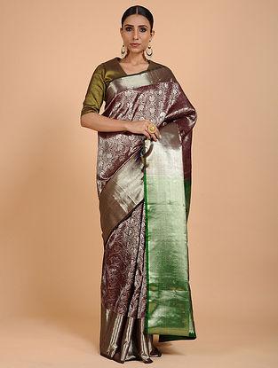 Maroon-Green Kanjivaram Silk Saree