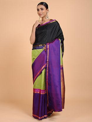 Black-Purple Kanjivaram Silk Saree