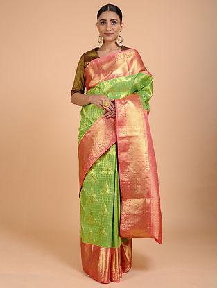 Green-Pink Kanjivaram Silk Saree