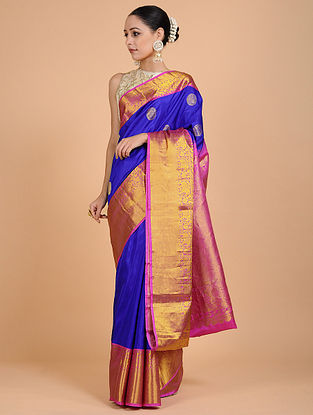 Blue-Pink Kanjivaram Silk Saree
