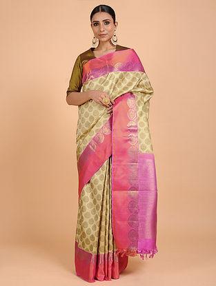 Beige-Pink Kanjivaram Silk Saree