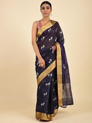 Blue Pranpur Mulberry Silk Saree