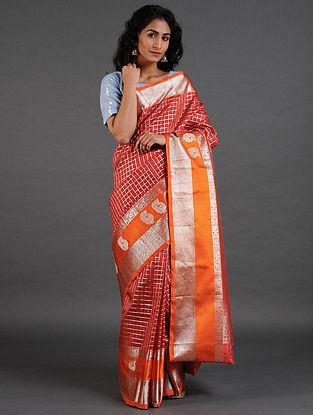 Orange Venkatgiri Silk Saree