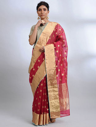 Red Handwoven Pranpur Mulberry Silk Saree