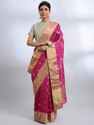 Pink Handwoven Pranpur Mulberry Silk Saree