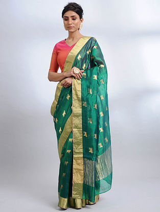 Green Handwoven Pranpur Mulberry Silk Saree