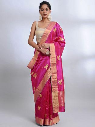 Magenta Handwoven Pranpur Mulberry Silk Saree