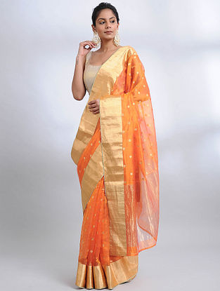 Orange Handwoven Pranpur Mulberry Silk Saree