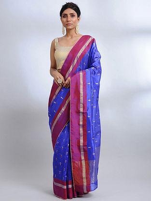 Royal Blue-Purple Handwoven Pranpur Mulberry Silk Saree