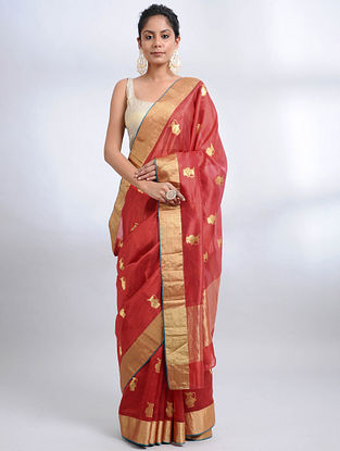 Crimson Handwoven Pranpur Mulberry Silk Saree