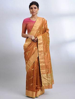 Brown Handwoven Pranpur Mulberry Silk Saree
