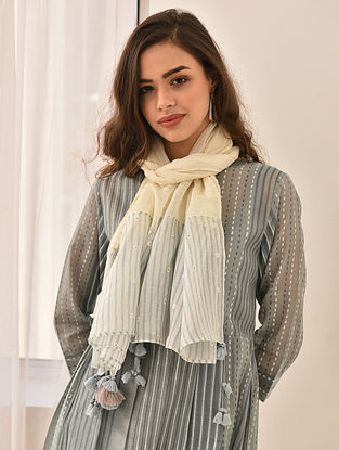 Ivory-Blue Block Printed Silk Cotton Stole with Embroidery and Tassels