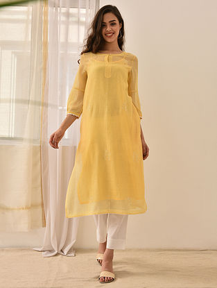 NASIM - Yellow Embroidered Silk Cotton Kurta with Lace and Beads (Set of 2)