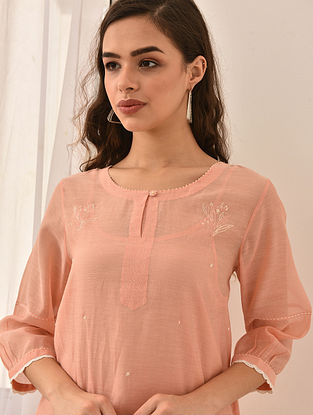 SUBUHI - Pink Embroidered Silk Cotton Kurta with Lace and Beads (Set of 2)