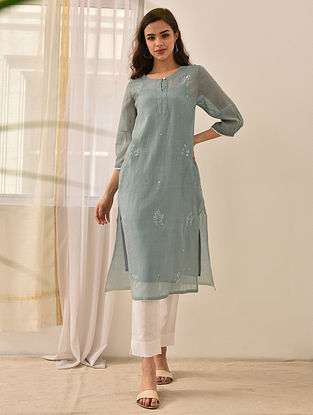 NAZANEEN - Blue Embroidered Silk Cotton Kurta with Lace and Beads (Set of 2)