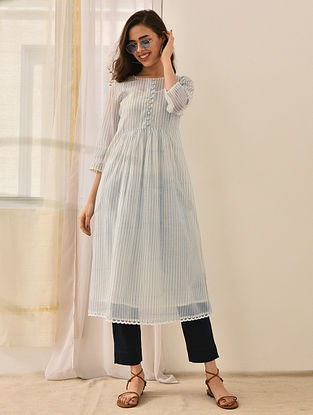 SABA - White-Blue Block Printed Silk Cotton Kurta with Lace and Embroidered Buttons (Set of 2)