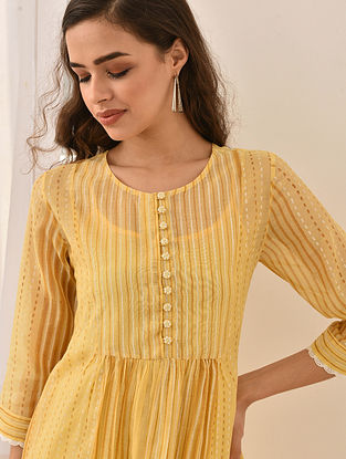 LUTFIYA - Yellow Block Printed Silk Cotton Kurta with Lace and Embroidered Buttons (Set of 2)