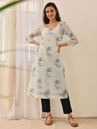 SAMERA - White-Blue Block Printed Silk Cotton Kurta with Khari and Lace (Set of 2)