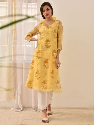 IRAJA - Yellow Block Printed Silk Cotton Kurta with Khari and Lace (Set of 2)