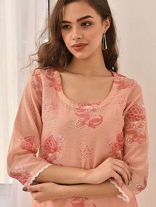 NIRVA - Pink Block Printed Silk Cotton Kurta with Khari and Lace (Set of 2)