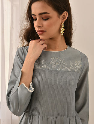 MAUSLUNI - Blue Embroidered Silk Cotton Dress with Pintucks and Lace
