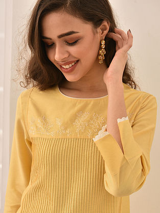 SABEEN - Yellow Embroidered Silk Cotton Dress with Pintucks and Lace