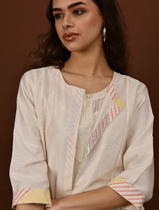 NADIA - Ivory Embroidered Silk Cotton Jacket with Beads