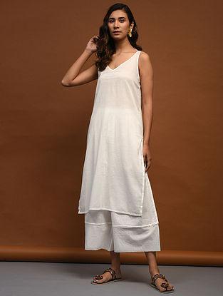 White Cotton Slip with Slit