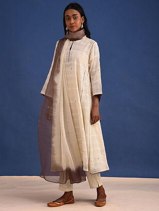 SEFID - Ivory Embroidered Cotton Dobby Kurta with Dupatta