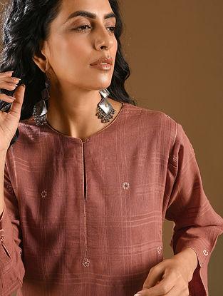 QAVAI - Rust Embroidered Cotton Dobby Kurta with Dupatta