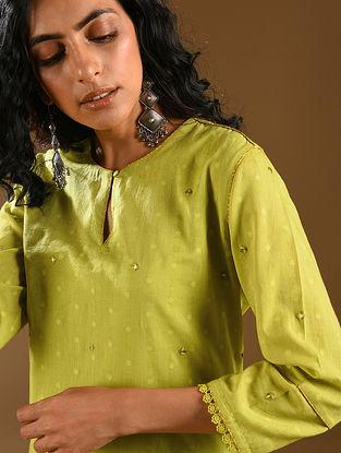 LIMUNI - Lime Embroidered Cotton Dobby Kurta with Dupatta