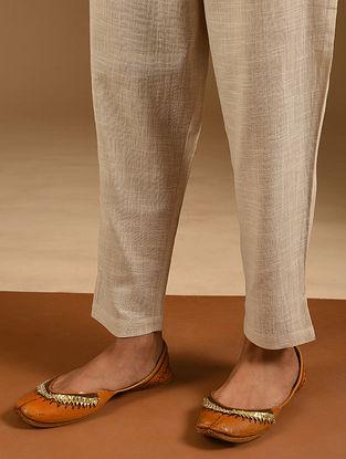 Ivory Elasticated Waist Cotton Slub Pants
